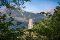The Bell Tower Of The Cathedral Of St. - Nicholas In Merano, Bolzano, South Tyrol, Italy Royalty Free Stock Photo - 91123275