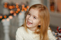 Beautiful Little Blond Girl With Blue Eyes Smiling At The New Ye Royalty Free Stock Photos - 91132968