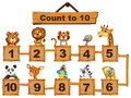 Counting Numbers One To Ten With Animals Stock Photo - 91140800