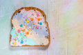 Unicorn Food Toasted Bread With Colorfur Cream Cheese Stock Photos - 91147363