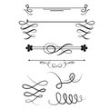 Collection Of Vector Dividers Calligraphic Style Vintage Border Frame Design Decorative Illustration. Stock Image - 91157241