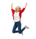 Smiling Young Woman Jumping In Air Royalty Free Stock Image - 91161976