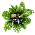 Summer Tropical Leaf Background With Exotic Palm Leaves. Party Flyer Template. Handwriting Lettering. Vector Stock Photography - 91162352