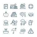Life, House And Car Insurance Thin Line Vector Icons Stock Photos - 91163503