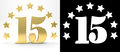 Golden Number Fifteen On White Background With Drop Shadow And Alpha Channel , Decorated With A Circle Of Stars. 3D Illustration Royalty Free Stock Image - 91176786