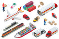 Isometric Logistics Icons Set Of Different Transportation Distribution Vehicles, Delivery Elements. Air Cargo Trucking Royalty Free Stock Images - 91178729