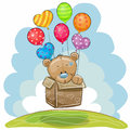 Cute Teddy Bear With Balloons Royalty Free Stock Image - 91182466