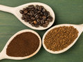 Spoonfuls Of Instant Granulated And Roast Coffee Beans Royalty Free Stock Photos - 91187588