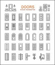 Door And Accessories. Line Icon Set Stock Image - 91190401