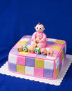 Cute Christening/baby Shower Cake For A Baby Girl Royalty Free Stock Images - 9126519