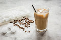 Iced Coffee With Beans For Cold Summer Drink On Stone Background Stock Photos - 91220873