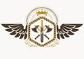 Classy Emblem Made With Eagle Wings Decoration, Armory And Royal Stock Photos - 91223423