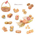 Watercolor Bakery Products. Set Of Sweet Cakes, Cookie, Bread An Stock Image - 91228571