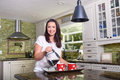 Attractive Woman Pouring Homemade Coffee For Two In Modern Sunny Kitchen Royalty Free Stock Photo - 91231085