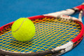 The Tennis Ball On A Tennis Court Stock Images - 91242054