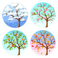 Four Seasons. Illustration Of Tree And Landscape In Winter, Spring, Summer, Autumn. Stock Photo - 91243160