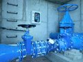 City Potable Water Pipeline In Concrete Shafts With 500mm Gate Valve Stock Photo - 91250230