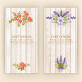 Wedding Invitation Card. Vector Invitation Card With Elegant Flower Elements With Text On Wood Background. Stock Images - 91276904