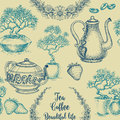 Tea And Coffee Seamless Pattern Royalty Free Stock Photo - 91281115