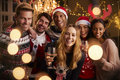 Portrait Of Friends In Festive Jumpers At Christmas Party Royalty Free Stock Images - 91281269