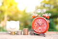 Red Alarm Clock With Coin On Old Wood Royalty Free Stock Photos - 91306048