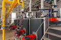 Interior Of Industrial Gas Boiler House With Many Pipes And Boil Royalty Free Stock Photo - 91306655