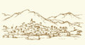 City In A Desert. Vector Drawing Royalty Free Stock Photo - 91315875