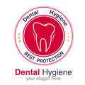 Dentist Logo Design Template. Tooth Symbol For Dental Clinic Or Mark For Dental Hygiene. Circular Red White Black Design. Royalty Free Stock Photography - 91333257