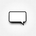 Isolated Abstract Black And White Color Comic Speech Balloon Icon On Checkered Background, Dialogue Box Sign, Dialog Stock Photo - 91335820