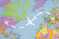 Flight To The USA Symbolic Image Of Travel By Plane Map Royalty Free Stock Images - 91347809