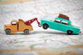 Toy Tow Truck Towing A Toy Car Royalty Free Stock Photo - 91352585