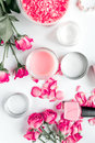 Rose Salt And Cream For Nail Care In Spa On White Background Top View Stock Photo - 91362320