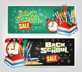 Back To School Sale Die Cut Banners With Colorful School Elements Stock Photo - 91362620
