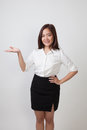 Young Asian Woman Present With Her Hand. Stock Photos - 91368983