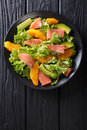 Salad Of Salmon, Oranges, Avocado And Frisee Close-up On A Plate Royalty Free Stock Image - 91384216