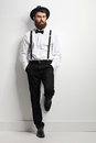 Elegant Man With Suspenders And A Bow Tie Stock Photo - 91384900