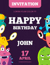 Children Happy Birthday Invitation Vector Card With Playful Funny Laughing Monsters Stock Images - 91385424