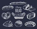 Bakery Products Set.Bread Collection.Hand Drawn Loafs, Croissant,bagel Etc Illustration With Wicker Basket.Pastry Signs. Royalty Free Stock Image - 91387156