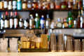 Shakers, Glasses, Stirrers And Strainers At Bar Stock Photography - 91389352