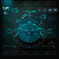 Futuristic Blue Virtual Graphic Touch User Interface, Music Interface, Tracks, Volume Controls Stock Photography - 91398242