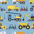 Construction Equipment Seamless Pattern Machinery With Trucks Flat Yellow Transport Vector Illustration Royalty Free Stock Photos - 91398528