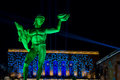 Bronze Statue Of Poseidon In Sweden With Colorful Light Show 3 Royalty Free Stock Image - 91416296