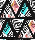Hand Drawn Vector Abstract Freehand Textured Seamless Pattern Collage With Zebra Mottif,organic Textures,triangles And Royalty Free Stock Photos - 91447068