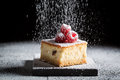Tasty Cheesecake With Raspberries And Powdered Sugar Stock Photography - 91447272