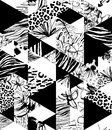 Seamless Pattern Tropical Birds, Palms, Flowers, Triangles. Grunge Ink Style. Stock Images - 91449024