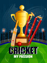 Cricket Background With Bat, Ball And Stump Wicket Stock Images - 91455734