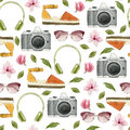 Watercolor Fashion Illustration. Set Of Trendy Accessories: Headphones,photo Camera,sunglasses,espadrilles And Magnolia Flowers. S Royalty Free Stock Image - 91458276