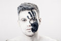 Young Man With Black Hand Print On White Face. Closeup Portrait.  Professional Fashion Makeup. Fantasy Art  Makeup Royalty Free Stock Photos - 91459998