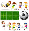 Football Players In Different Actions And Football Fields Stock Photos - 91476333