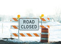 Road Closed Sign In Winter Royalty Free Stock Image - 91477666